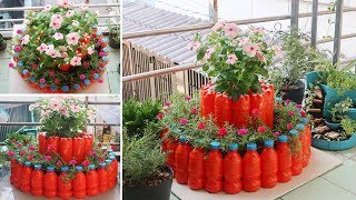 Amazing Flower Tower Pots, DIY recycle plastic bottles for small space | garden ideas