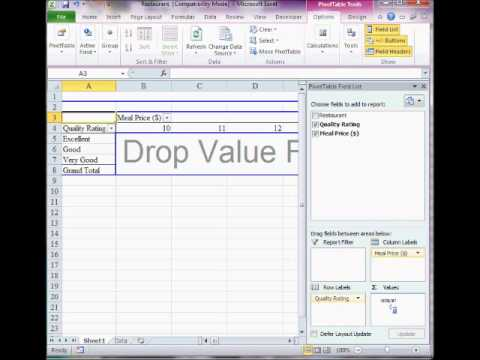 Cross tabulation by Excel 2010