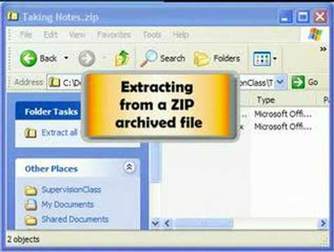 Zip and Unzip files in Windows XP