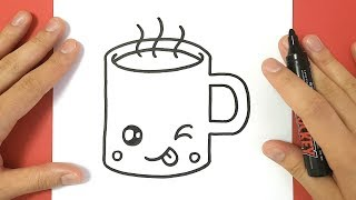 How to Draw a Hot Chocolate Cup Cute and Easy