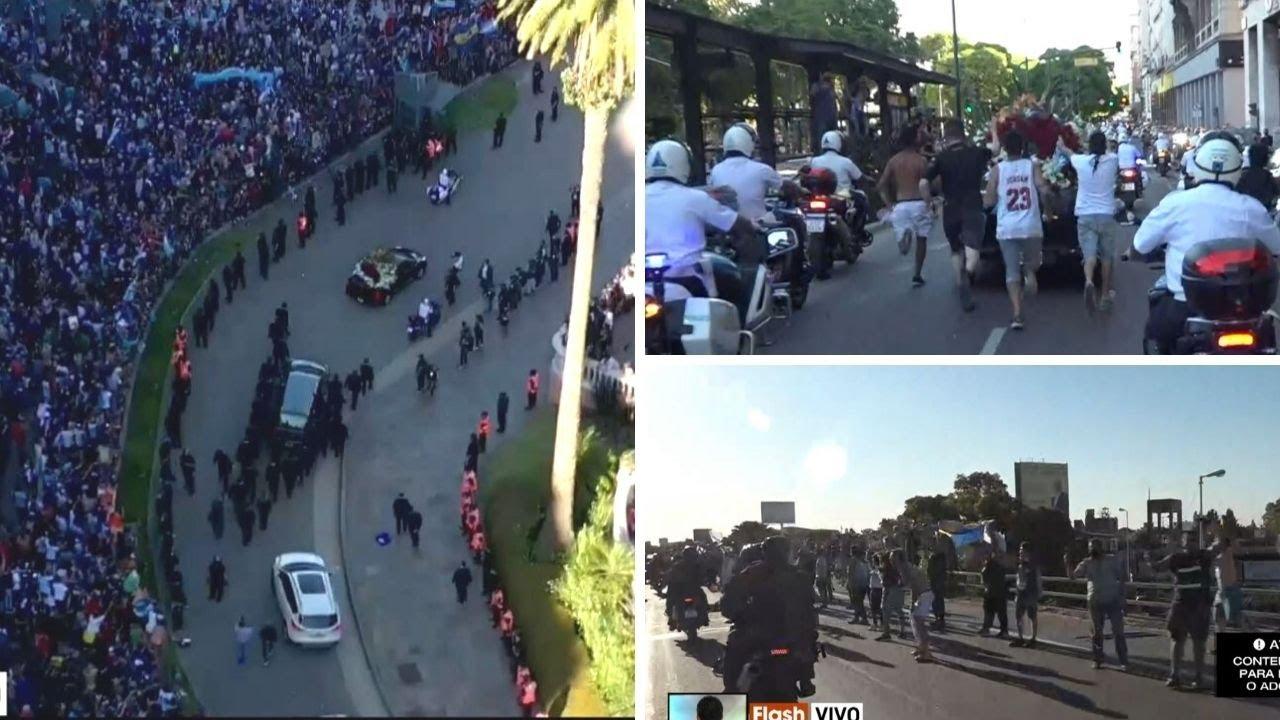 La muerte de Maradona: se terminó el velatorio y comenzó el cortejo fúnebre al cementerio