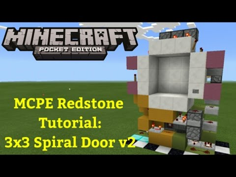 Minecraft Pocket Edition Redstone Tutorial: 3x3 Spiral Piston Door (MCPE 1.1.0)