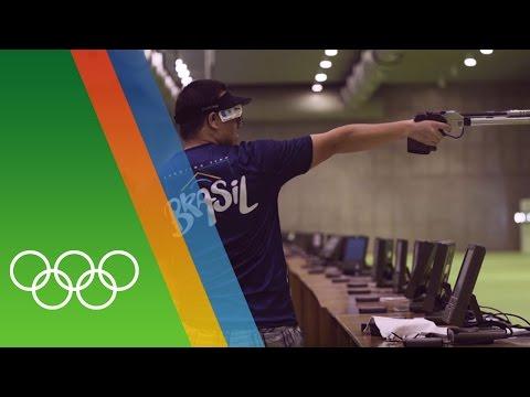 Training for Rio with Air Pistol shooter Felipe Wu [BRA]
