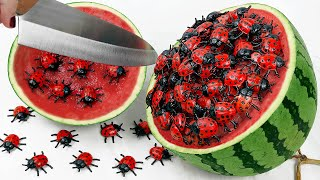 Stop Motion Cooking Make beetle mukbang salad from watermelon ASMR Unusual Cooking Funny Videos