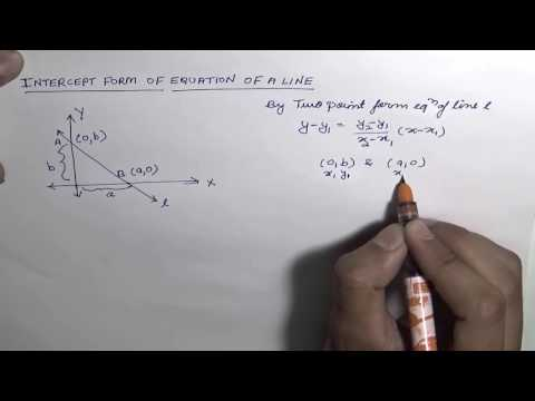 Equation of a Line in Intercept Form (Hindi)