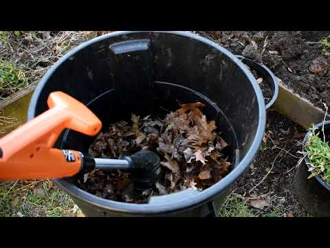 Amend Your Raised Beds with Finely Chopped Leaves: A Trashcan, Weed-Eater & Free Fertilizer
