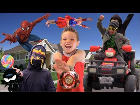 TEAM UP!  Power Ranger, Spiderman, Supergirl battle the Candy Crooks!