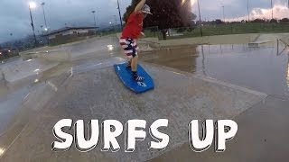 EPIC SURFING FALL AT SKATEPARK