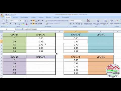 طريقة التحويل من الدرجة إلى الراديان و العكس  (conversion degrés vers radians et l'inverse)على Excel