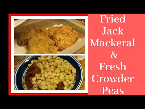 Fresh Crowder Peas, Fried Jack Mackerel Patties and Homemade Cornbread