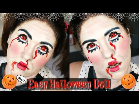 Quick and Easy Halloween Doll Makeup | First Attempt