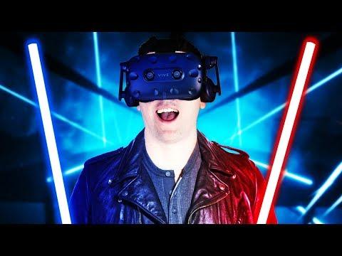 VIRTUAL REALITY LIGHTSABER RHYTHM! - Beat Saber Gameplay - VR HTC Vive Pro (Giveaway)
