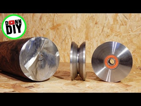 Homemade Portable Band Sawmill Build #11 - Turning V-Groove Steel Wheels