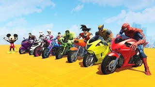 LEARN COLORS MOTORCYCLES AND PLANES w/ Superheroes Fun Animation for Children and Babies