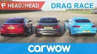 BMW M3 v Mercedes-AMG C63 S v Alfa Romeo Giulia QV - DRAG RACE, BRAKE & DRIFT OFF  | Head2Head