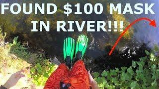 Found Ray Bans, Tusa Mask and Snorkel, Flask, Cash, Sunglasses in River!!! (River Treasure)