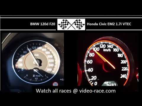 BMW 120d F20 VS. Honda Civic EM2 1.7i VTEC - Acceleration 0-100km/h