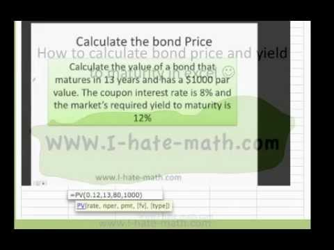 How to calculate bond price EXCEL , how to calculate Yield maturity EXCEL