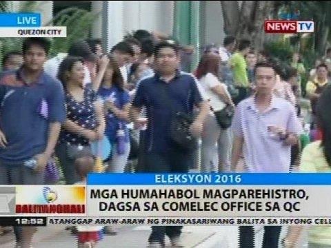 BT: Mga humahabol magparehistro dagsa sa Comelec office sa Quezon City