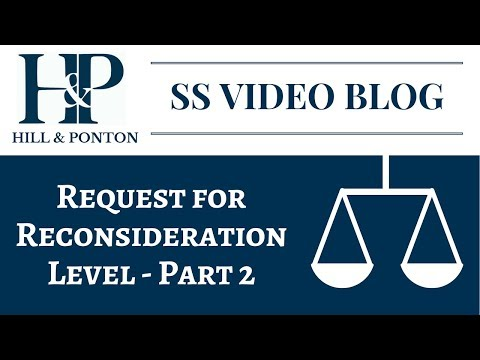 SS Request for Reconsideration Level - Part 2