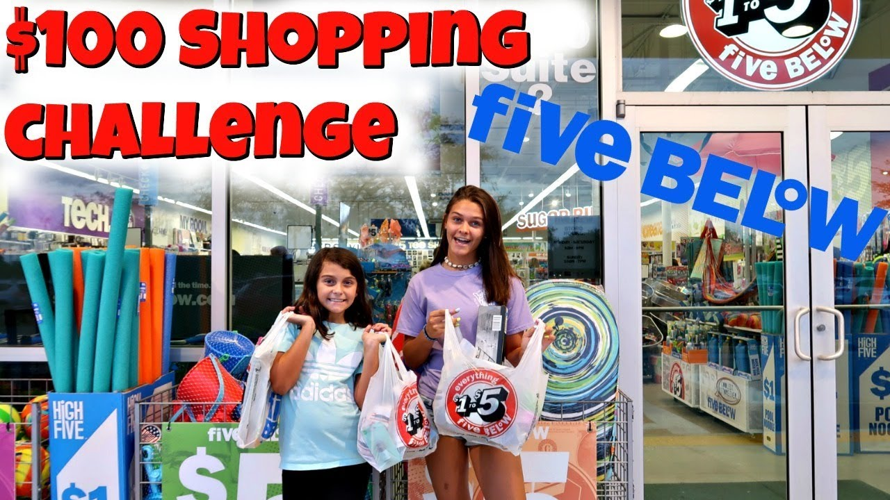 $100 Shopping Challenge at FIVE BELOW! Buying Whatever You Want! Emma and Ellie