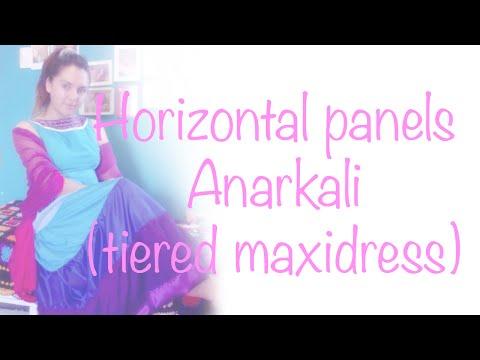 ♥Horizontal panels Anarkali / Tiered maxidress☁Tutorial