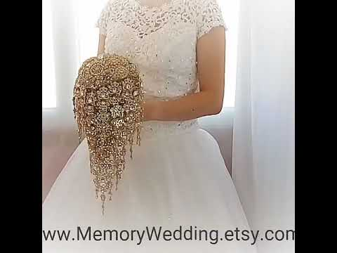 Gold teardrop cascading waterfall brooch bouquet , jeweled diy how to make bouquet