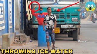 Throwing Ice Water Balloons at People Prank ! || MOUZ PRANK