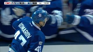Komarov catches Hellebuyck off guard, scores from terrible angle