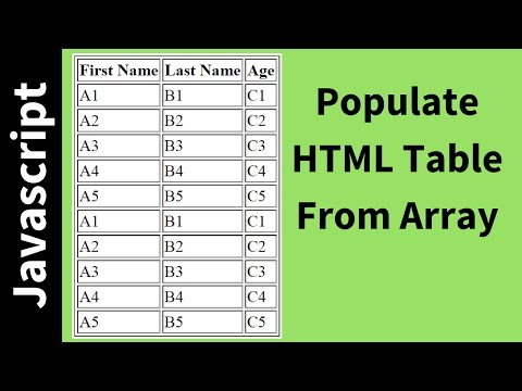 How To Populate HTML Table From Array Using Javascript [ with Source code ]