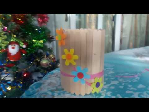 How to make PEN STAND/PENCIL HOLDER with  tins & ice cream stick/ popsicles - DIY RECYCLE CRAFTS