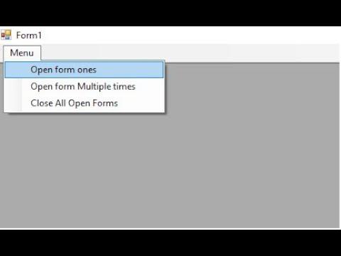 Creatin MDI Parent, Child, Menu Strip In MDI ,Open Form, Close All Forms in C# Windows Forms