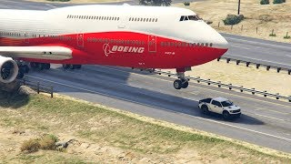 "GTA5 - Giant Air Plane ""Emergency Landing"" on Highway -- Two Engines Failed  -- (This is from GTA 5)"