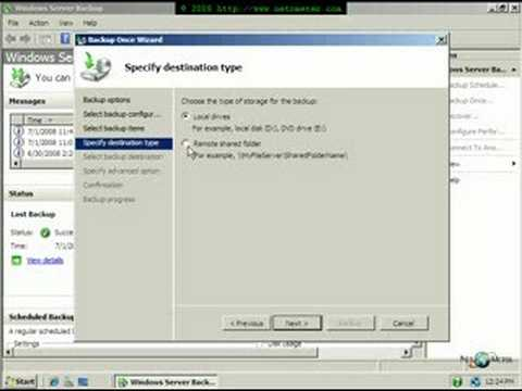 How to Backup to Network Share in Small Business Server 2008