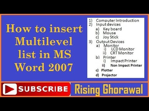 How to insert multiple bullet and numbering in MS word in hindi