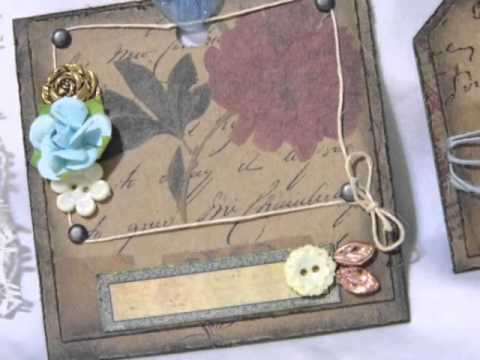 *Sold* Premade Handmade Scrapbook Tags Victorian Vintage Style