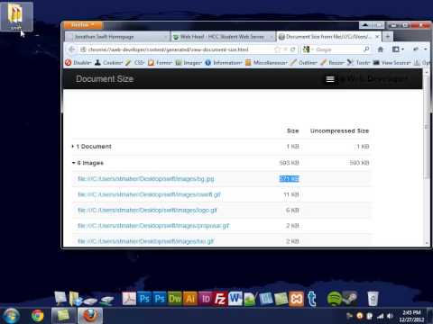 Check Website File Size with the Web Developer Toolbar