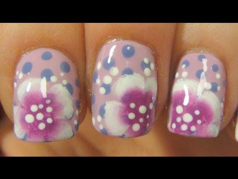 Sweetheart One Stroke Flower & Polka Dots Design on Short Nails in Pink & Violet Nail Art Tutorial