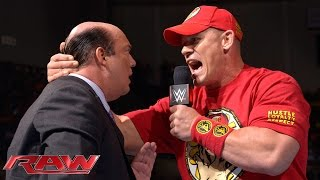 John Cena gives Paul Heyman until halftime: Raw, Sept. 15, 2014