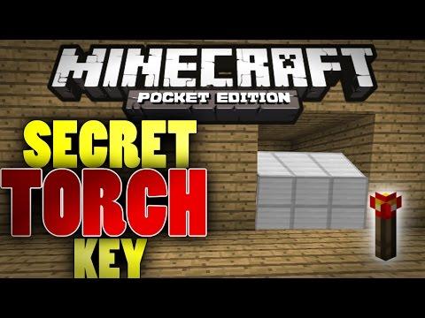 MCPE Redstone: Hidden Torch Key Tutorial - Torch key for hidden base