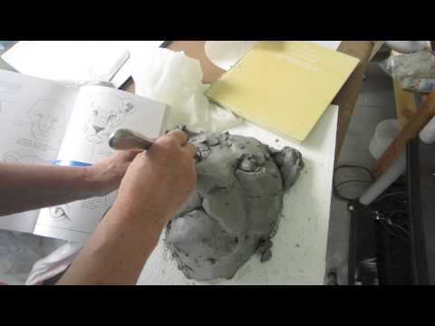 Concrete Lion Head, Making the Clay Model