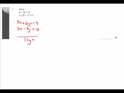 11y Ma2   Simultaneous and Quadratics Equations   Q1