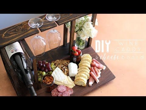 DIY Wine Caddy and Cheese Board | Valentine's Day Idea