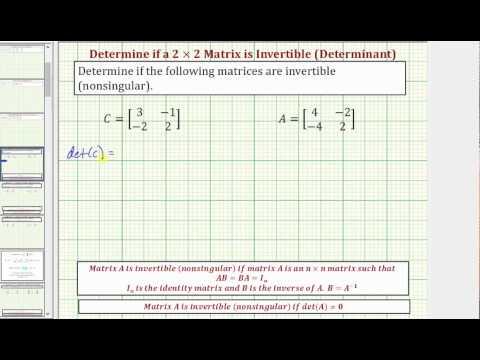 Ex: Determine if a 2x2 Matrix is Invertible (nonsingular) Using a Determinant