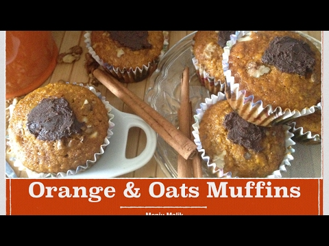 Healthy orange and oats muffins recipe - How to make best and very moist orange oats muffins at home