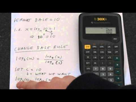 TI 30Xa: How to Change Log Base (log base 2 example)