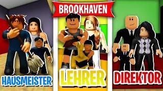 HAUSMEISTER vs LEHRER vs DIREKTOR FAMILIE in BROOKHAVEN! 😄 (Roblox Brookhaven 🏡RP | Story Deutsch)