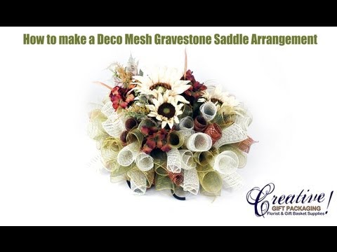 How to Make a Beautiful Deco Mesh Gravestone Saddle