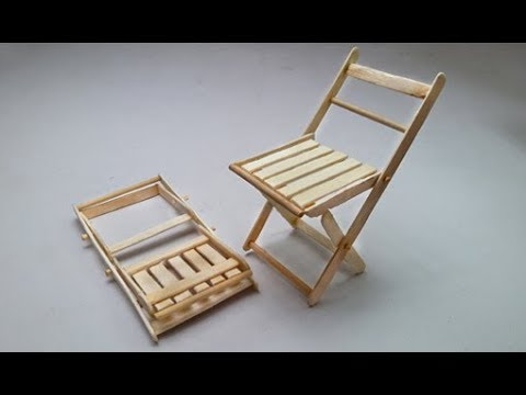 Popsicle or Ice Cream Stick Folding Chair Making DIY Miniature