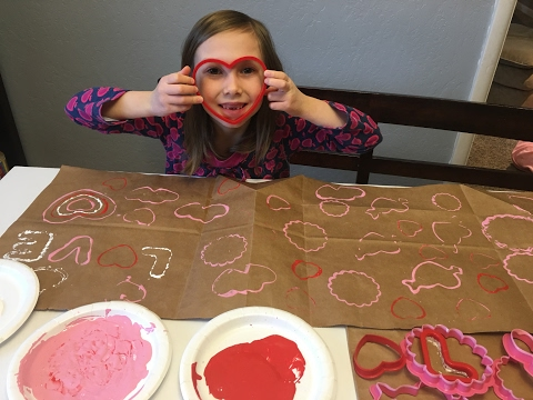 How to make a Simple Valentine Craft: Cookie Cutters and Painting Fun